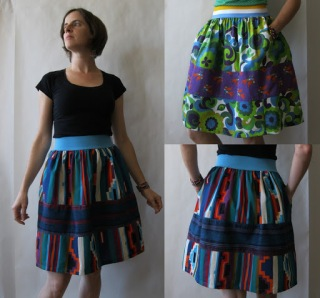 Vintage Print Elastic Waist Skirt by Amy Cools