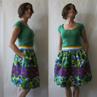Vintage Print Elastic Waist Skirt by AC Clothing and Bags